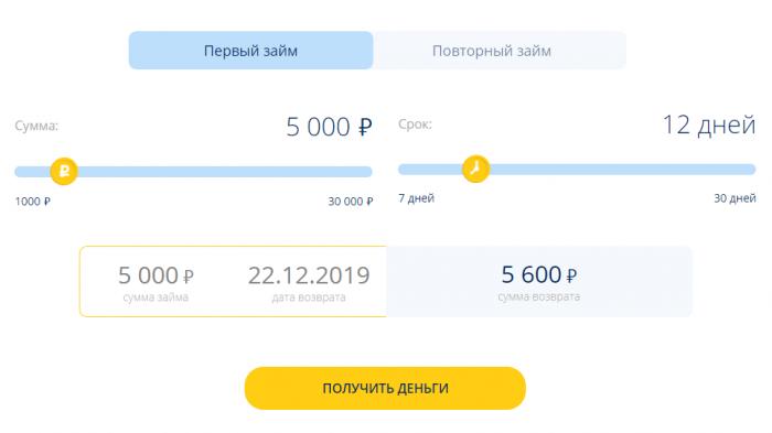 Финза - калькулятор займа