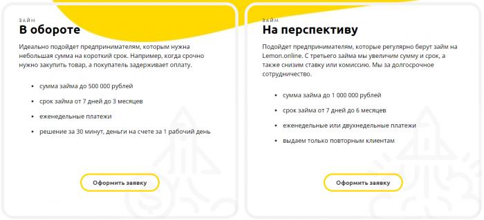 Lemon - виды кредитования